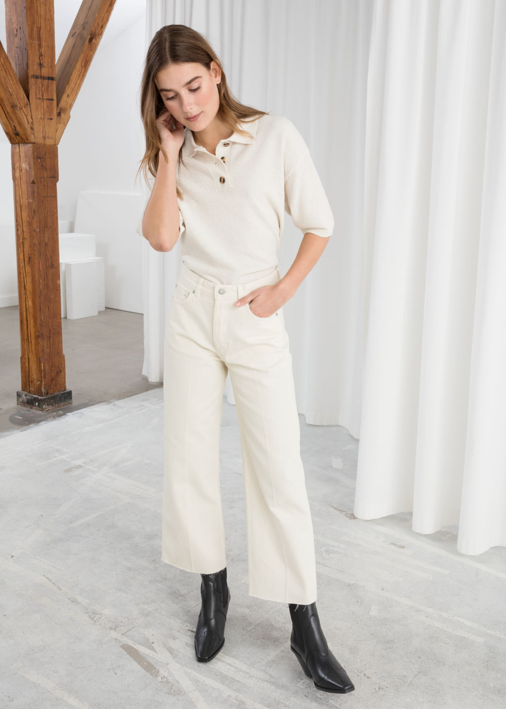 Model front image of Stories straight mid rise jeans in white