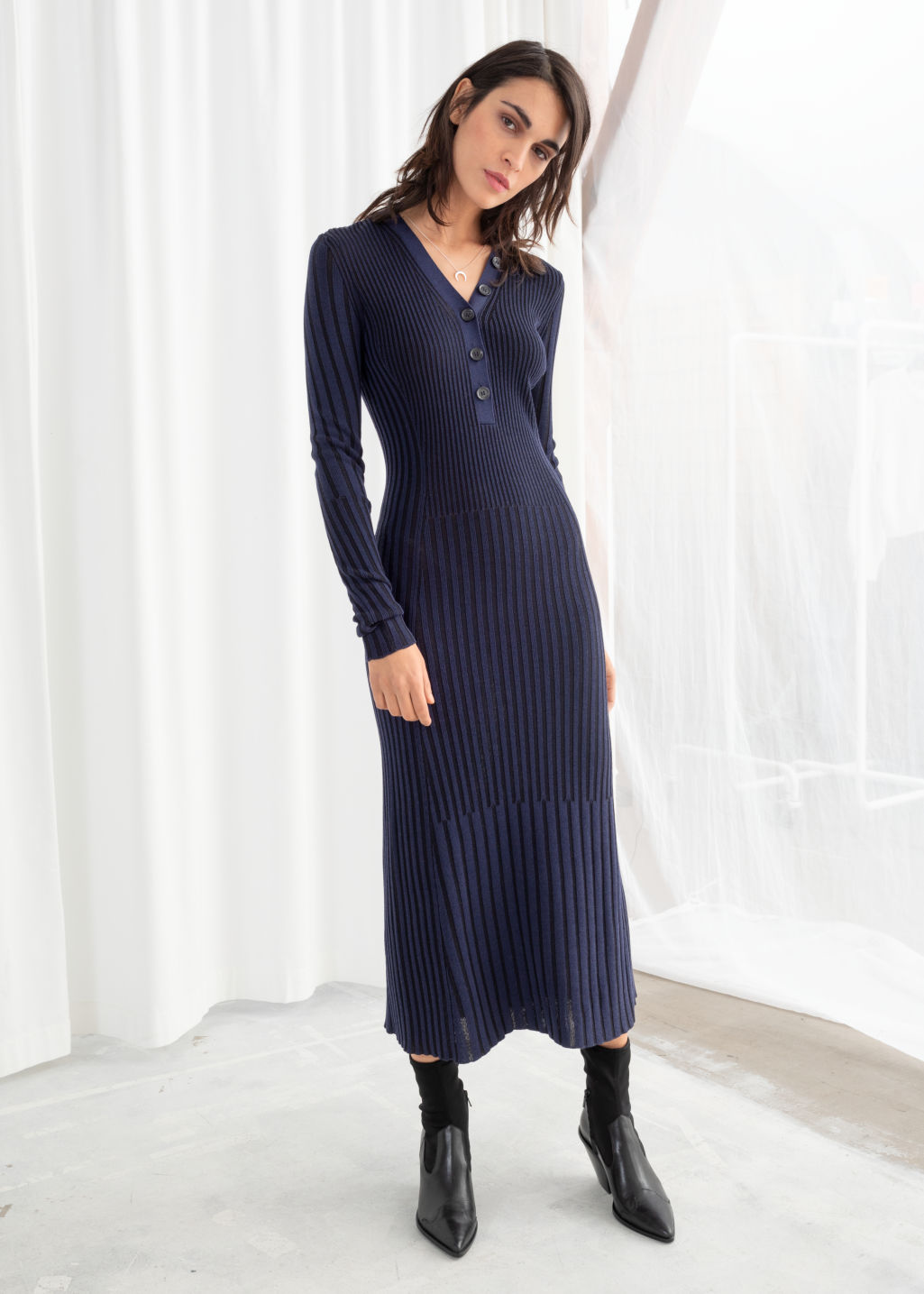 8d791e7f67ba Rib Knit Midi Dress - Blue Black - Midi dresses -   Other Stories