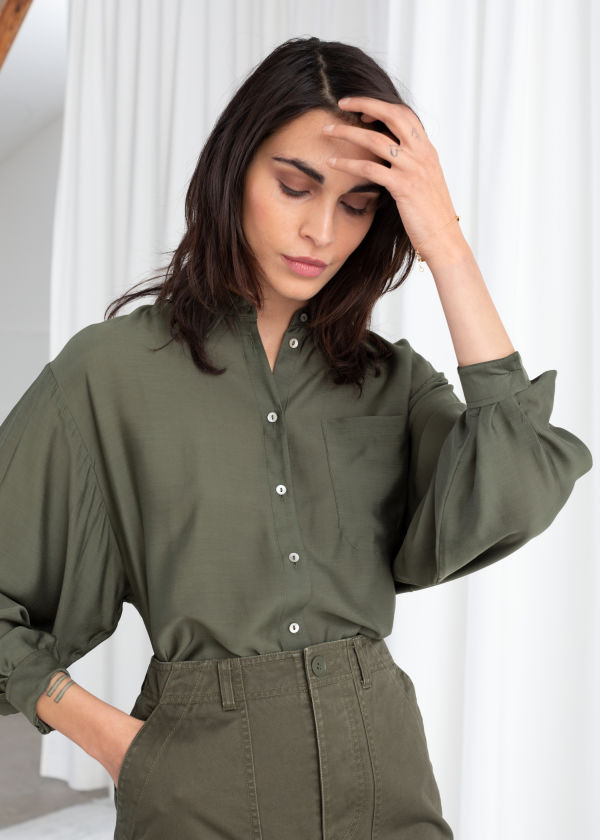 Oversized Silk Blend Button Up Shirt