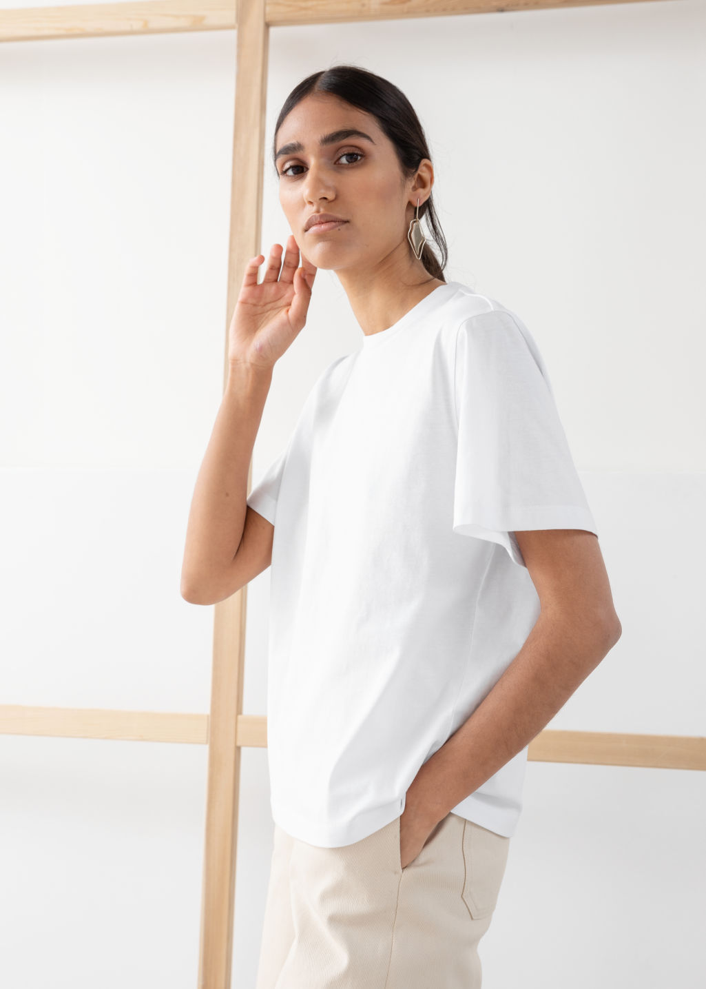 Model front image of Stories boxy organic cotton tee in white