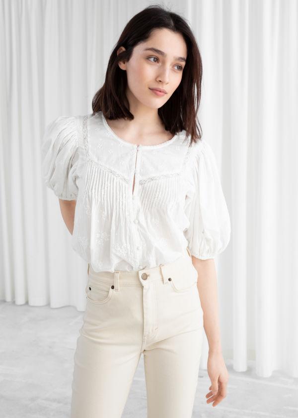 Floral Schiffli Organic Cotton Blouse ... 905484d3f