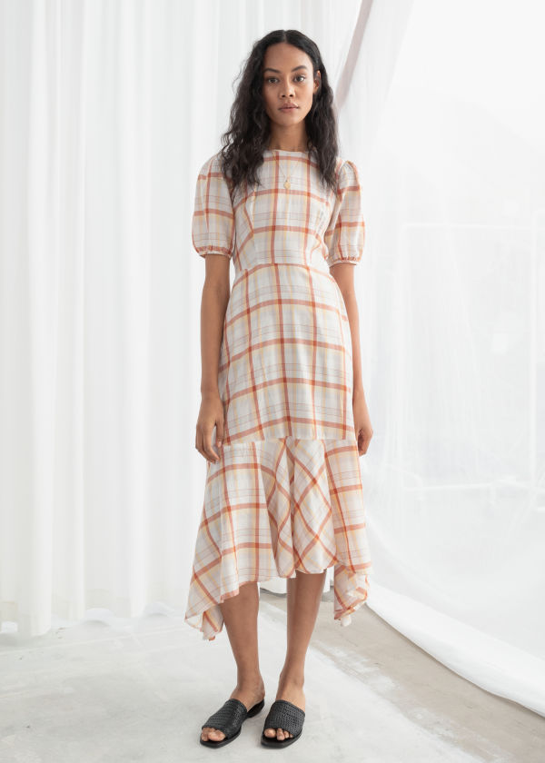 Cotton Blend Handkerchief Midi Dress