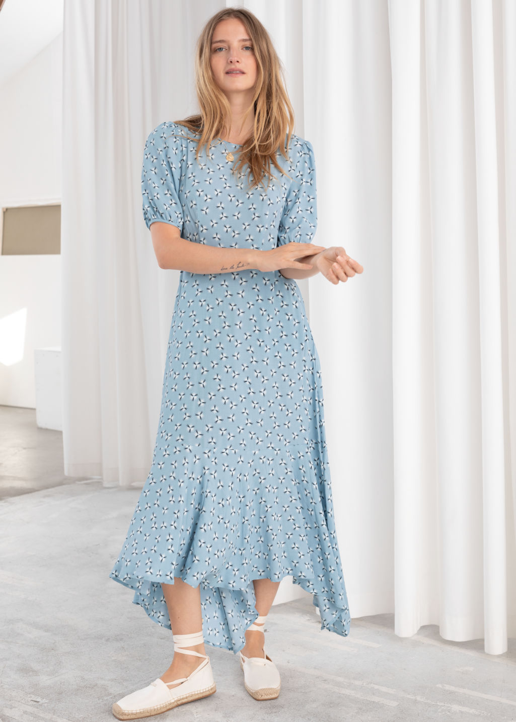 fbde782044e9 Model front image of Stories cotton blend handkerchief midi dress in  turquoise ...