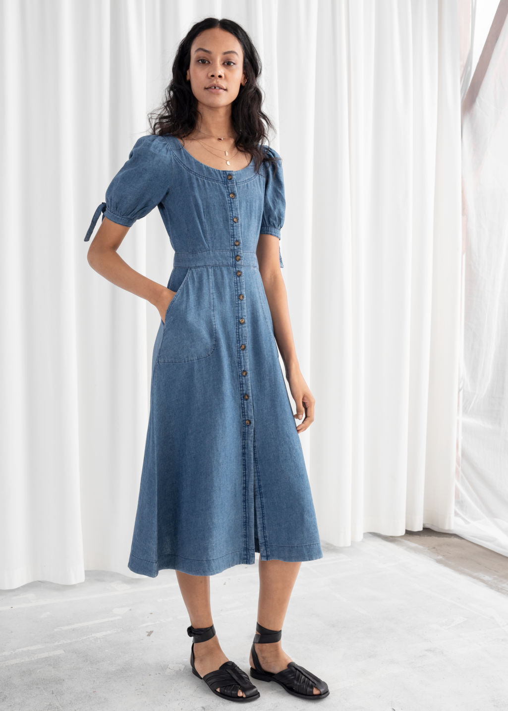 2b078b6e9c Model front image of Stories linen blend denim midi dress in blue ...