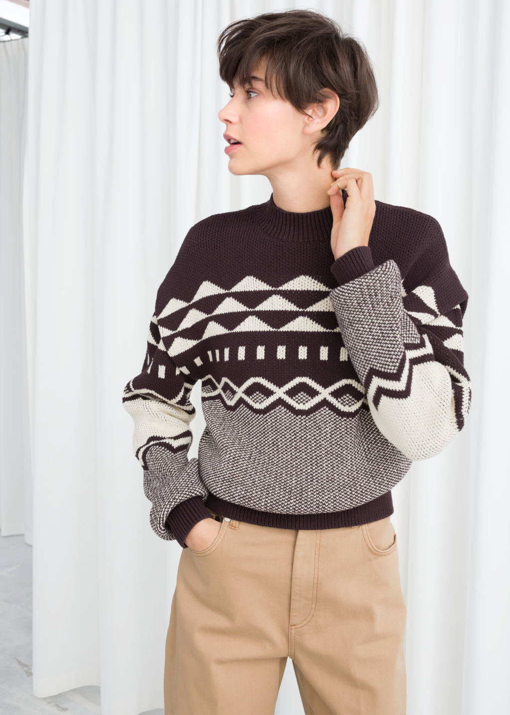 Model back image of Stories graphic cotton knit sweater in brown