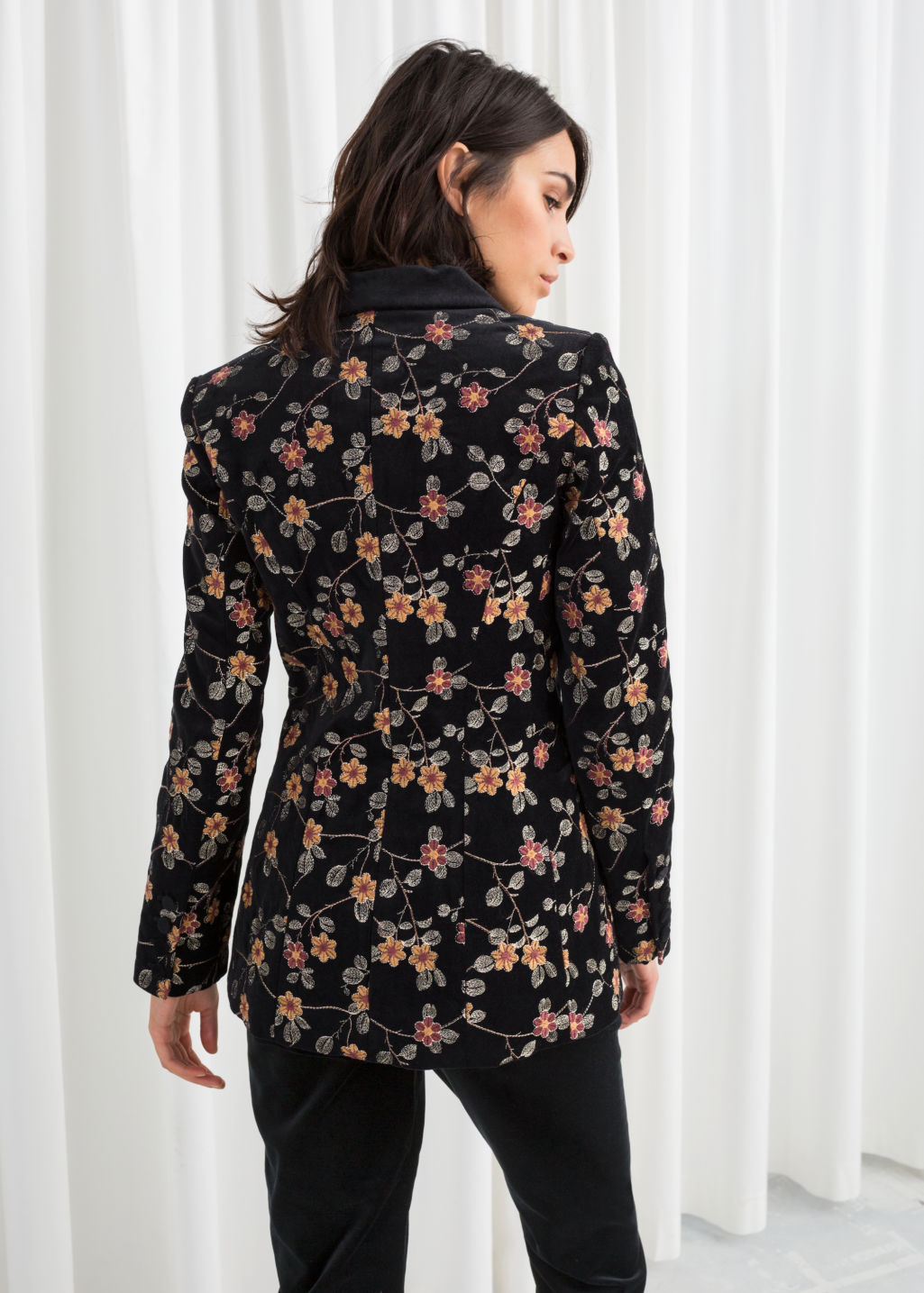Model back image of Stories floral embroidered velvet blazer in black