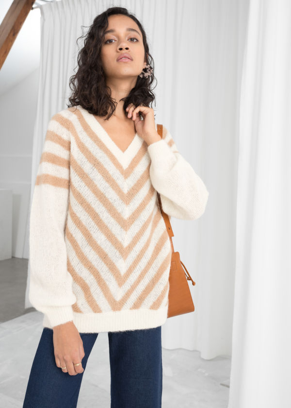 Oversized Chevron Stripe Sweater