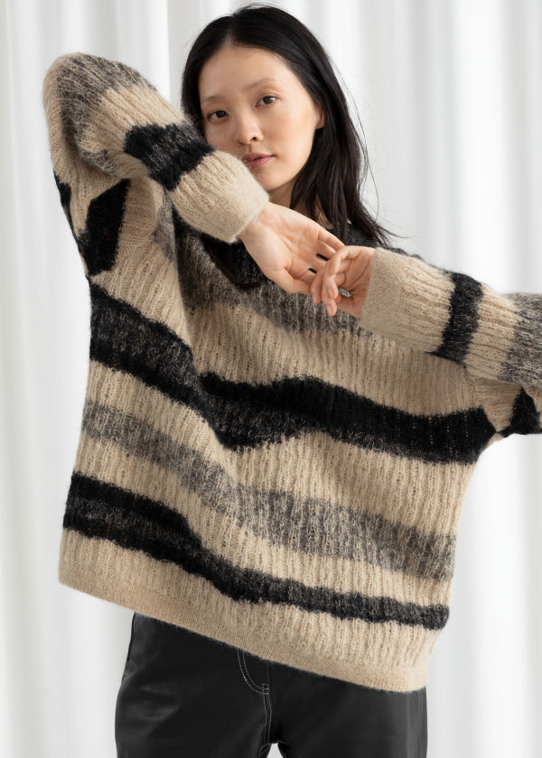Asymmetric Striped Wool Blend Sweater