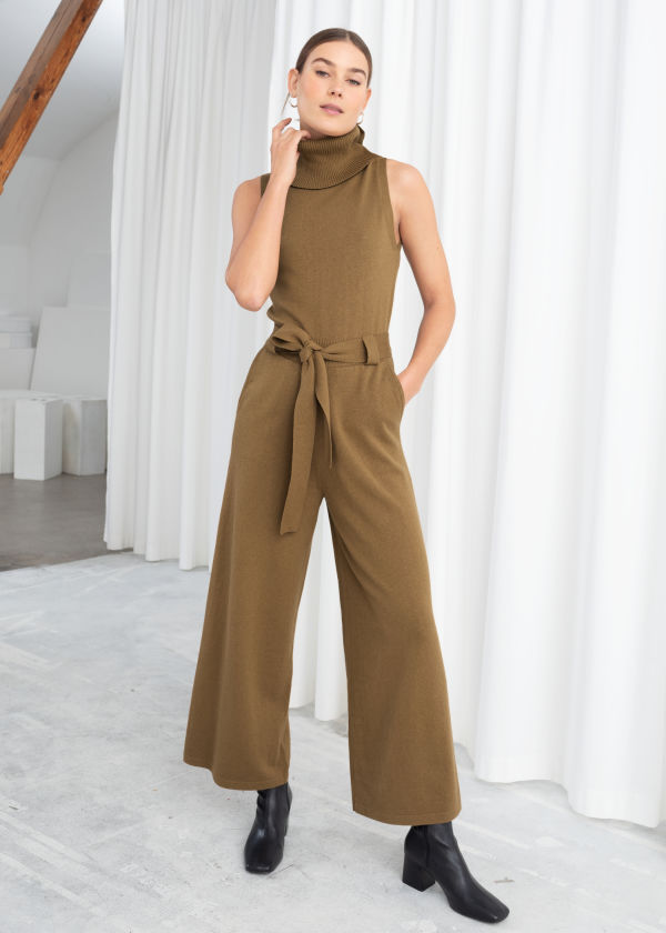 Cotton Blend Turtleneck Jumpsuit