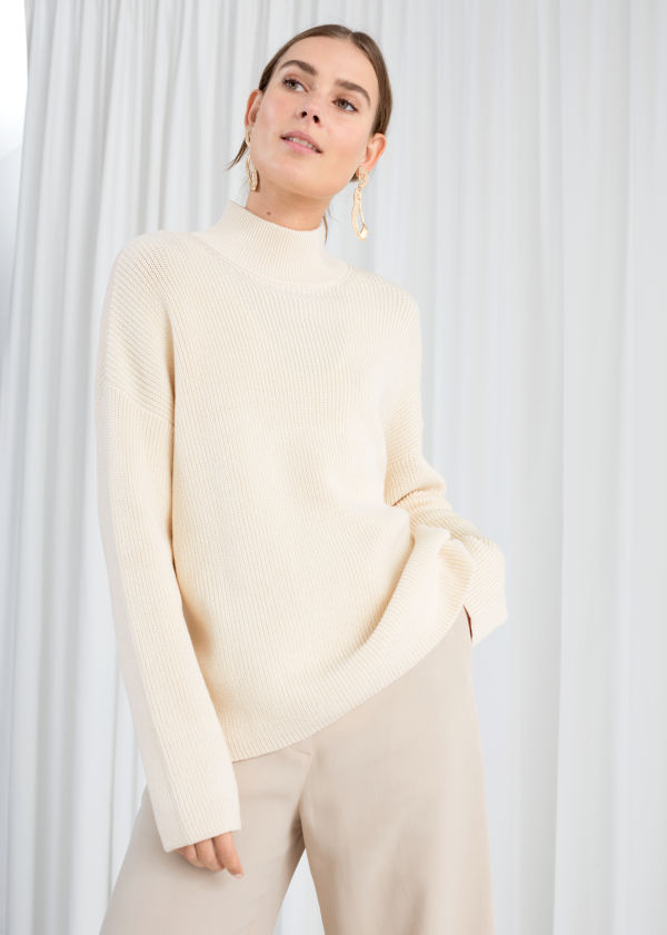 Cotton Blend Mock Neck Sweater