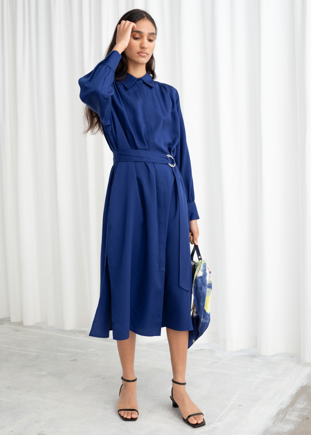 Model front image of Stories belted lyocell midi dress in blue
