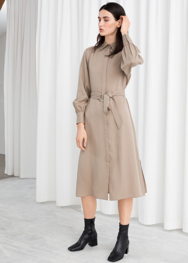 Belted Lyocell Midi Dress