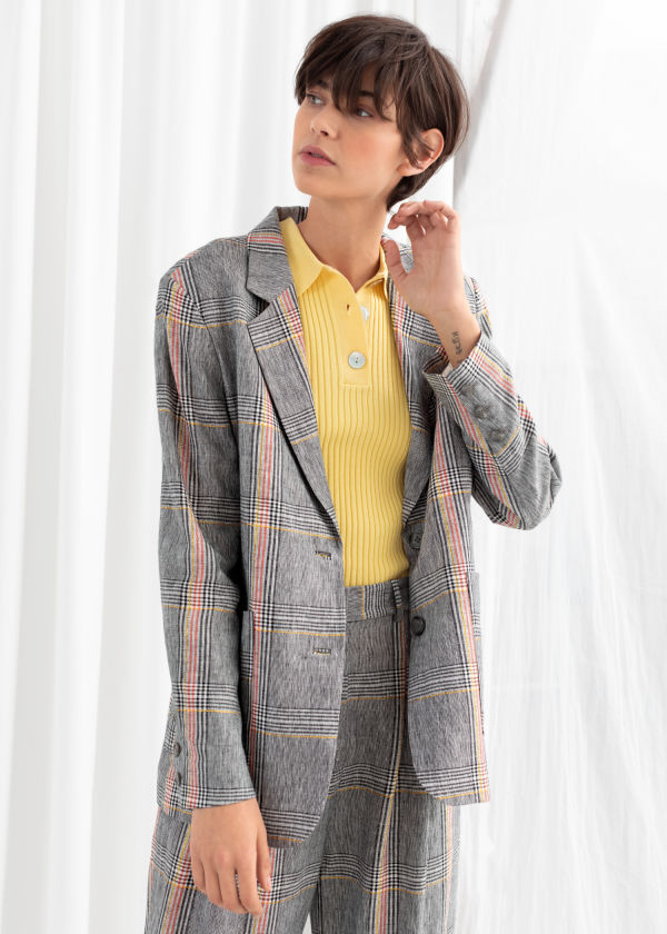 Oversized Plaid Linen Blend Blazer