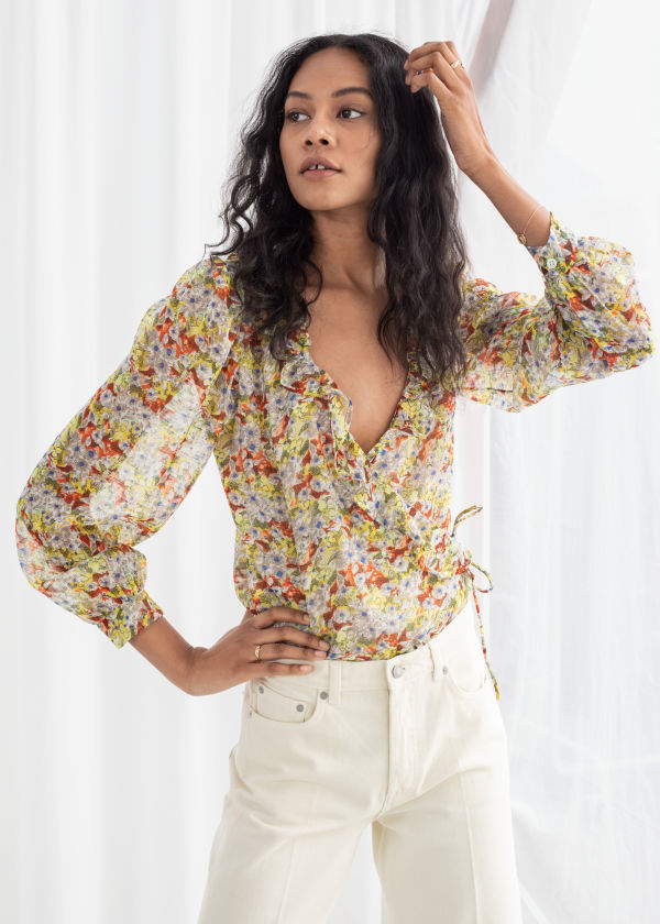 Sheer Floral Wrap Blouse