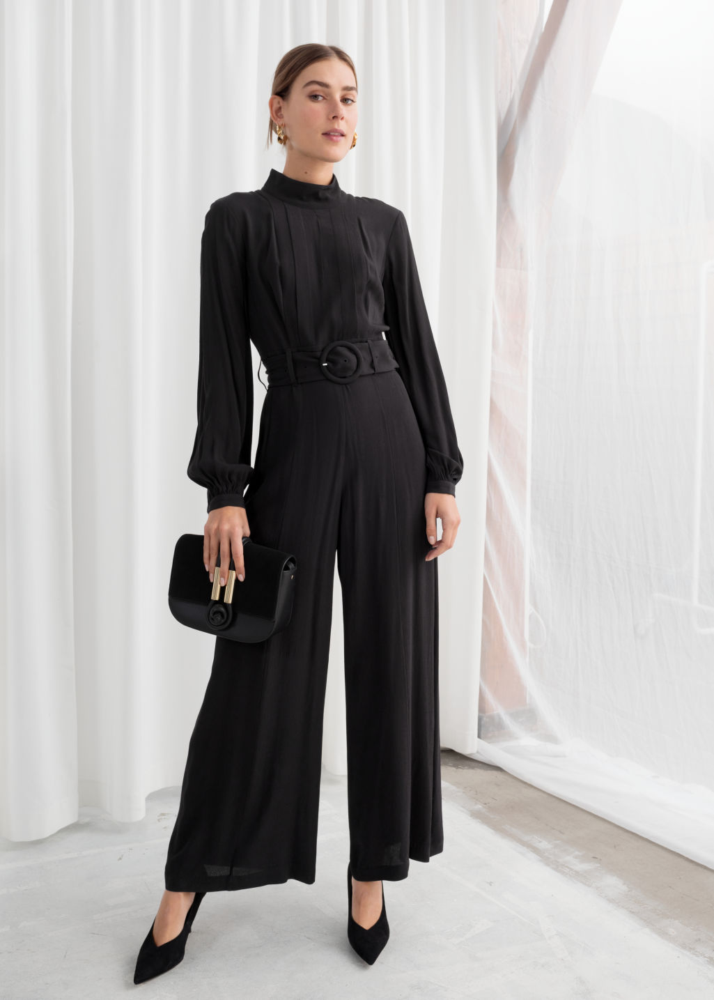 b95731b8178c Long Sleeve Belted Jumpsuit - Black - Jumpsuits   Playsuits ...