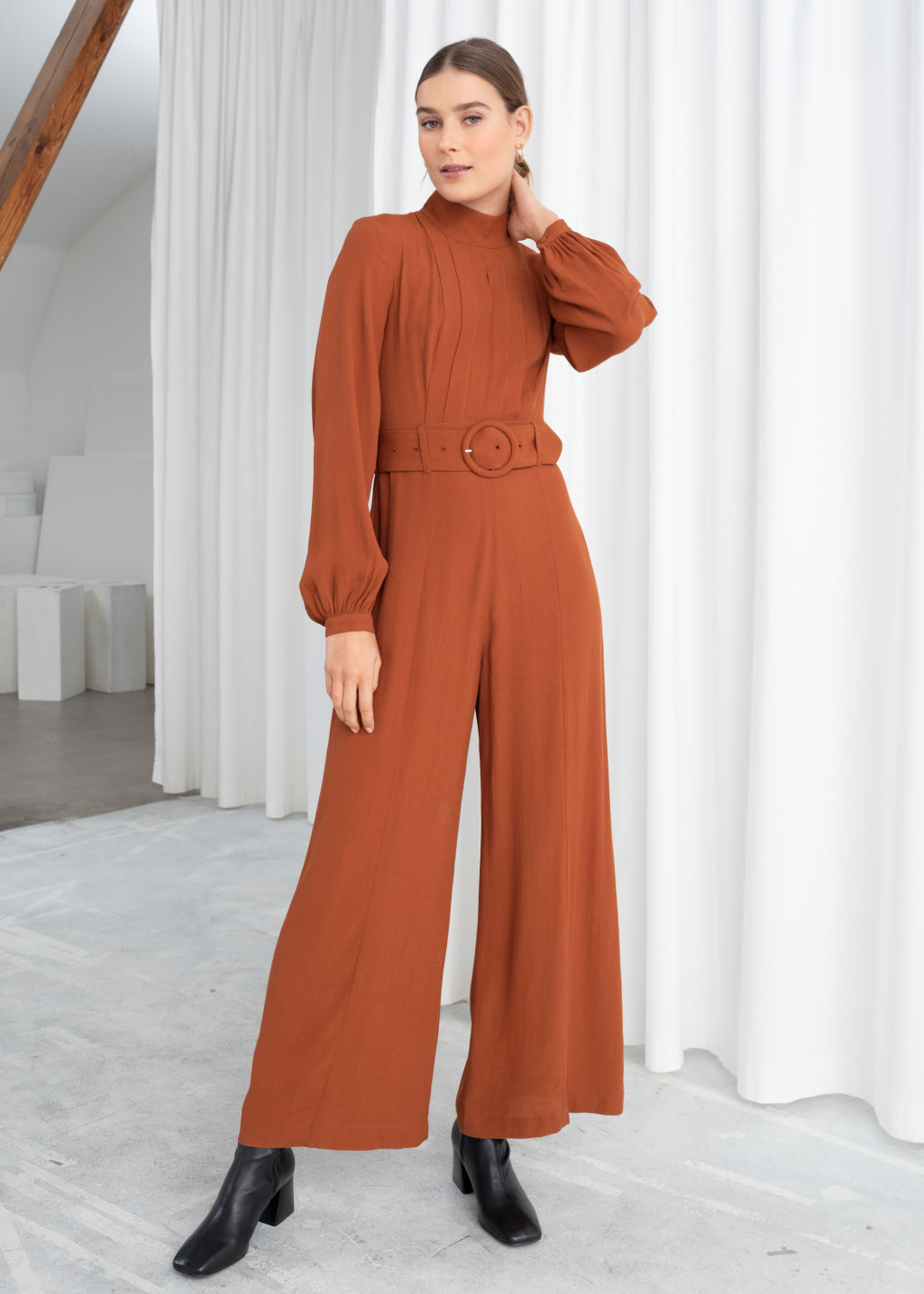 f228cc71ef8 Long Sleeve Belted Jumpsuit - Rust - Jumpsuits   Playsuits -   Other ...