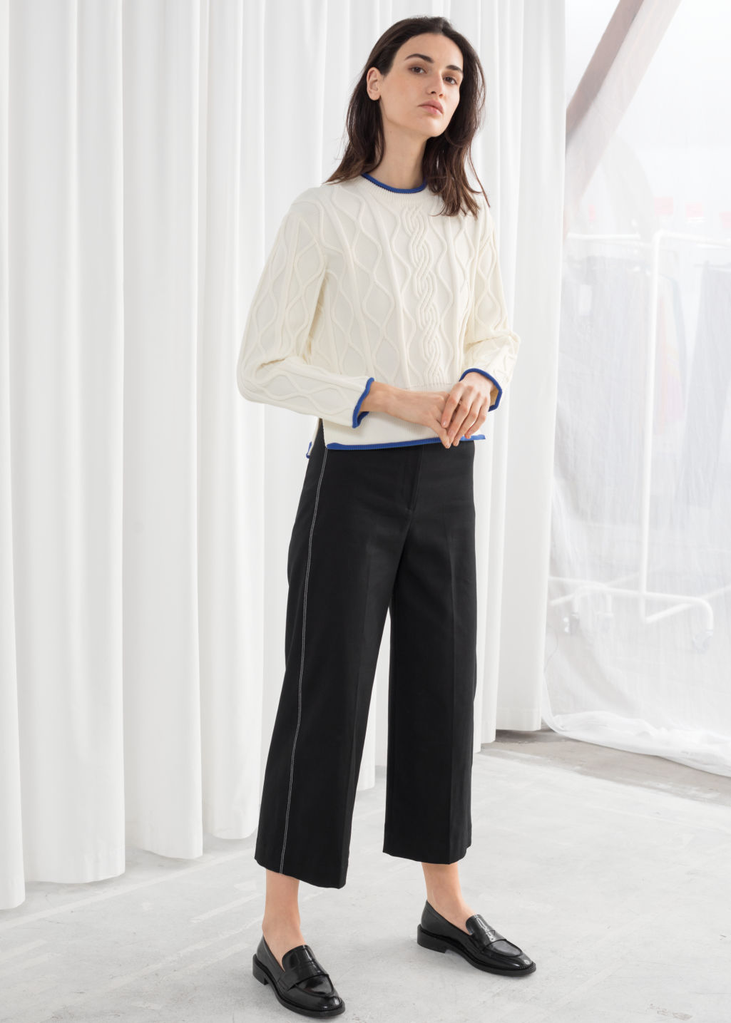 Model front image of Stories high waisted workwear trousers in black