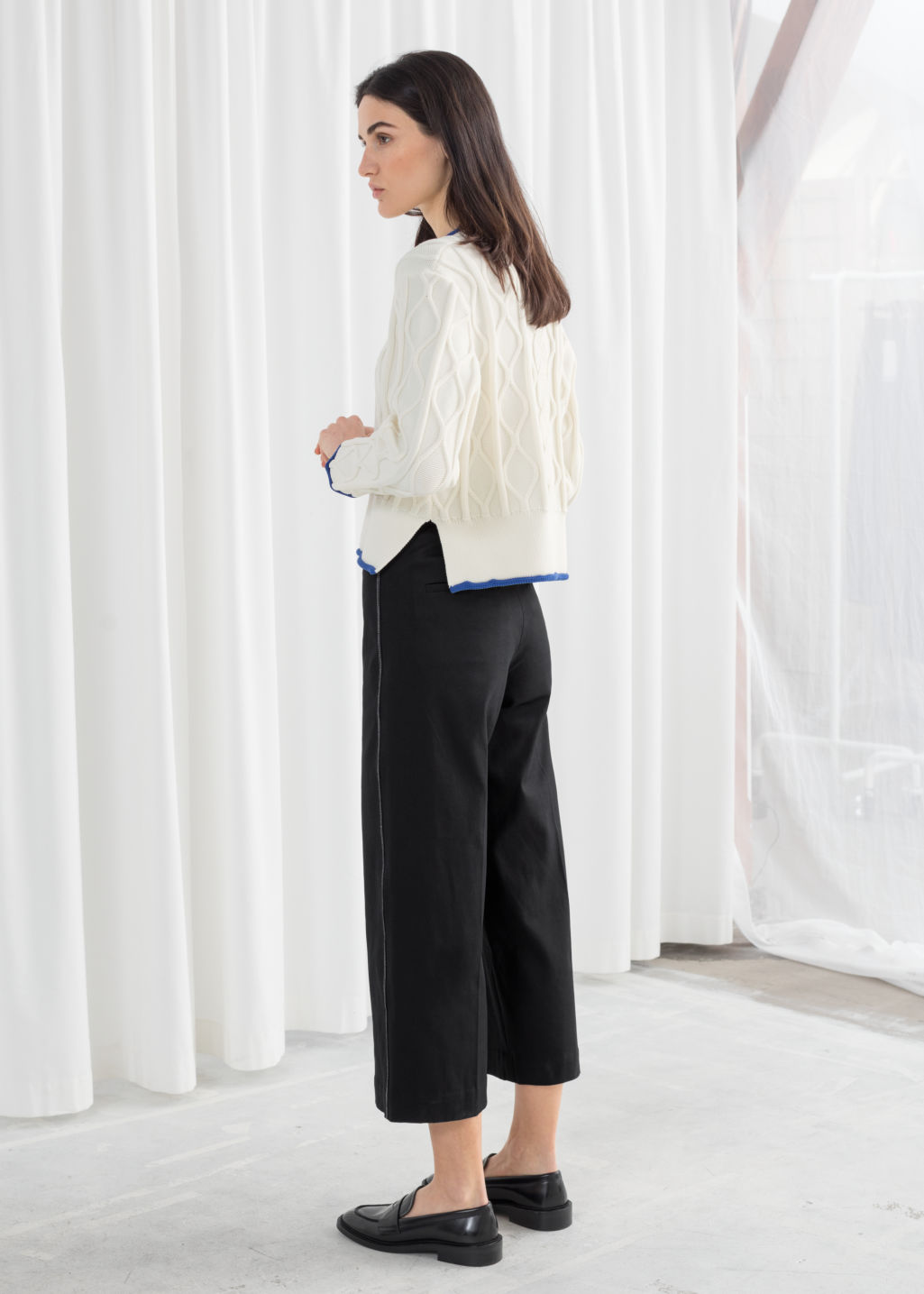 Model back image of Stories high waisted workwear trousers in black