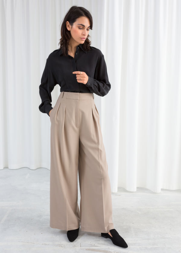 Wide Stretch Wool Trousers