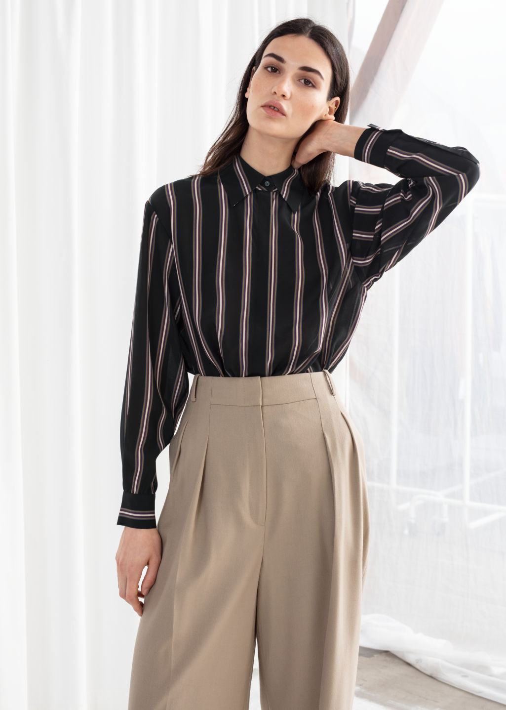 Model front image of Stories silk stripe lounge shirt in black