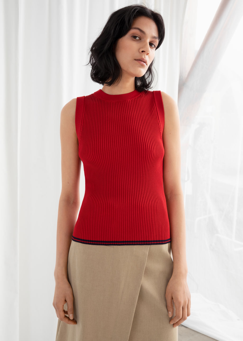 Model front image of Stories rib knit tank top in red