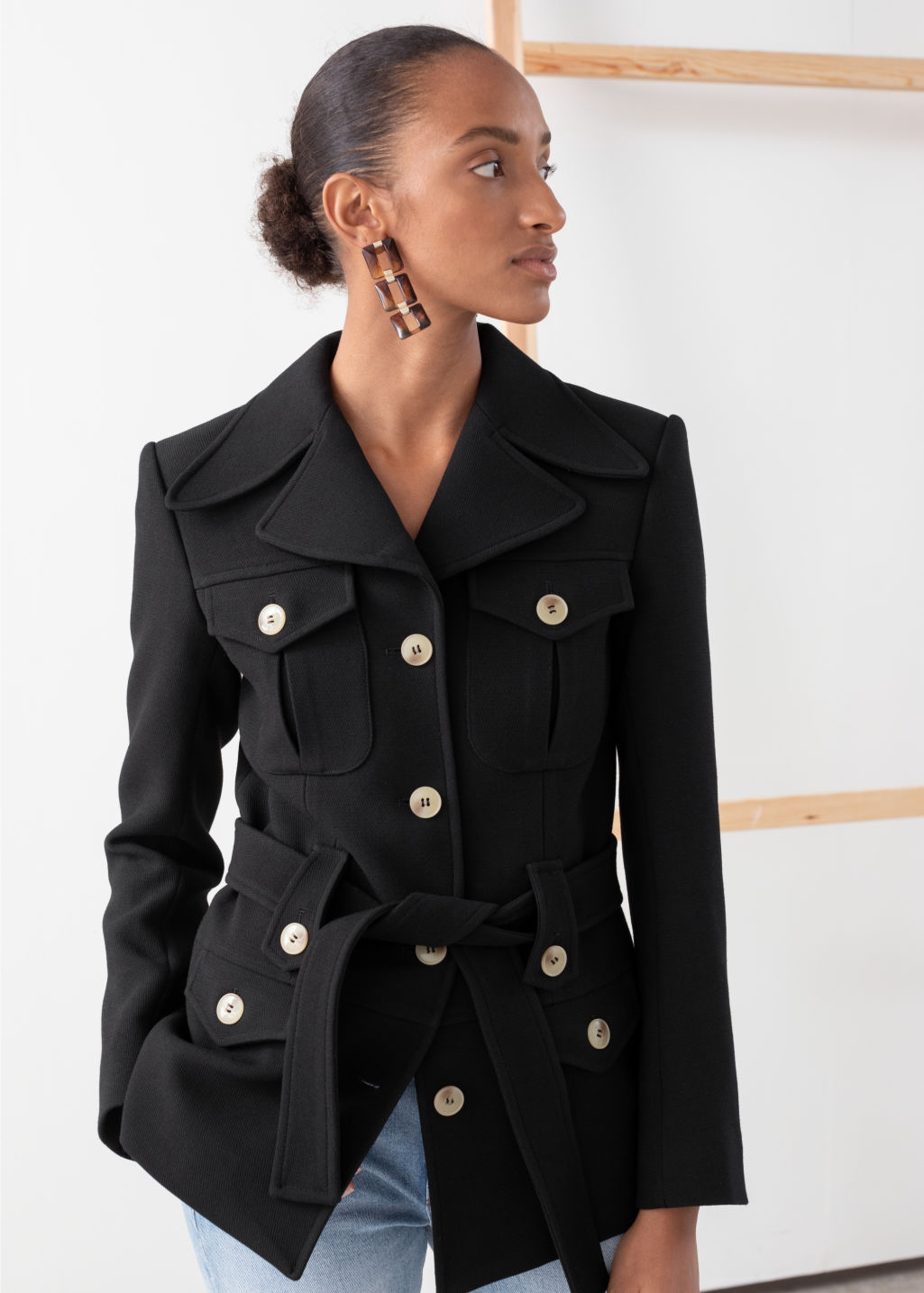 Model front image of Stories structured belted workwear jacket in black