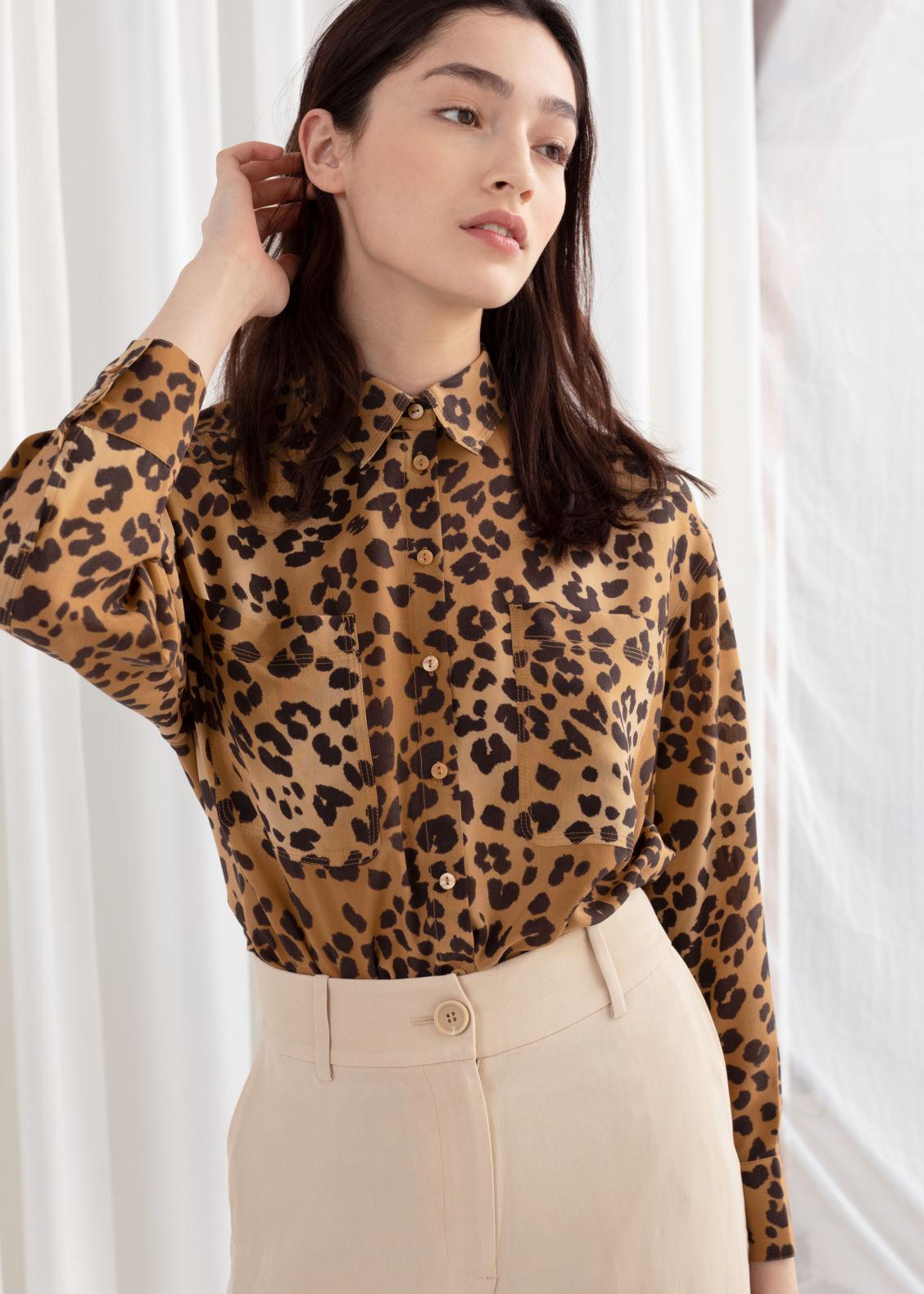 5a94d3ff63e Oversized Leopard Silk Shirt - Leopard - Silk -   Other Stories