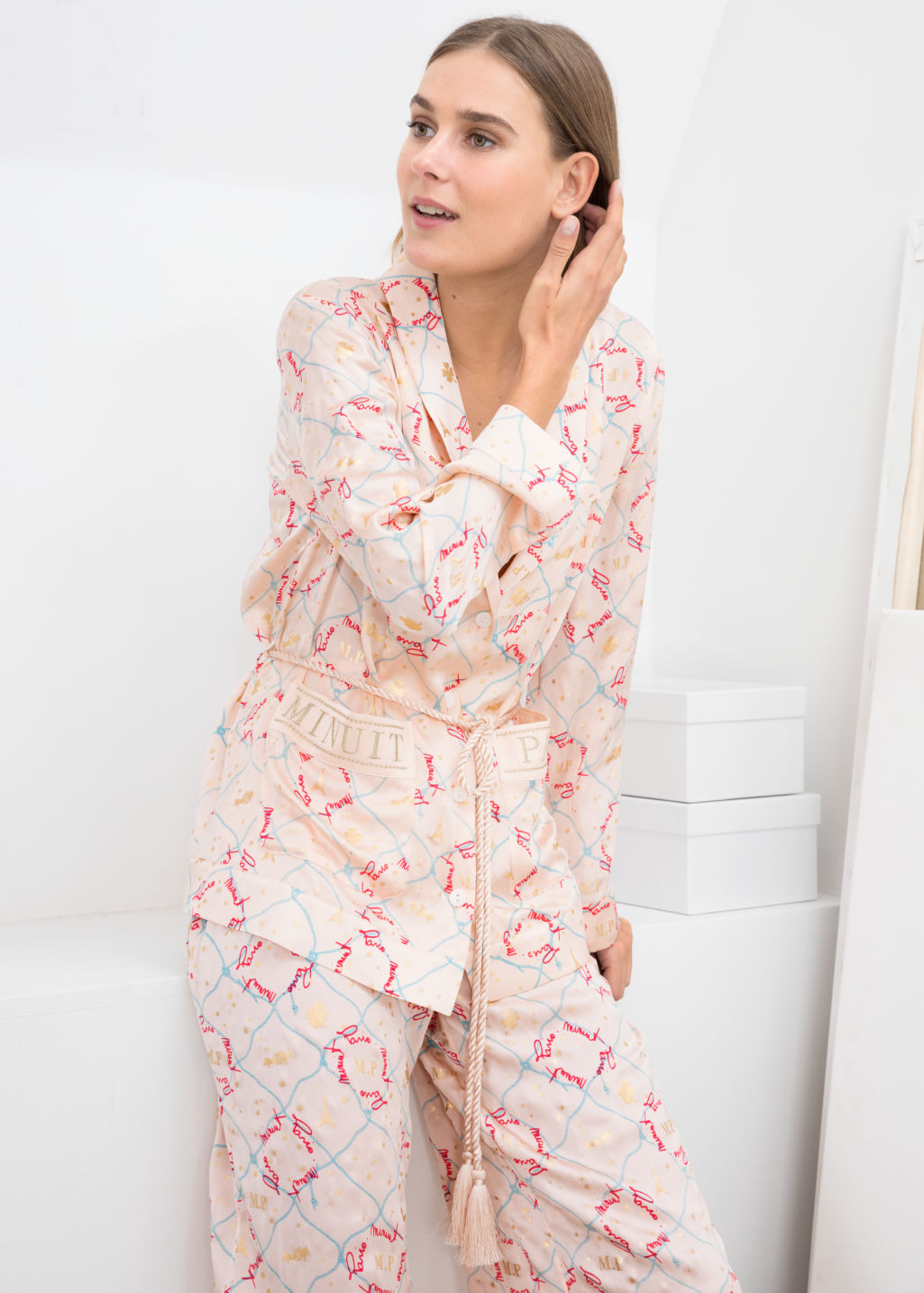 Model front image of Stories belted silk lounge shirt in pink