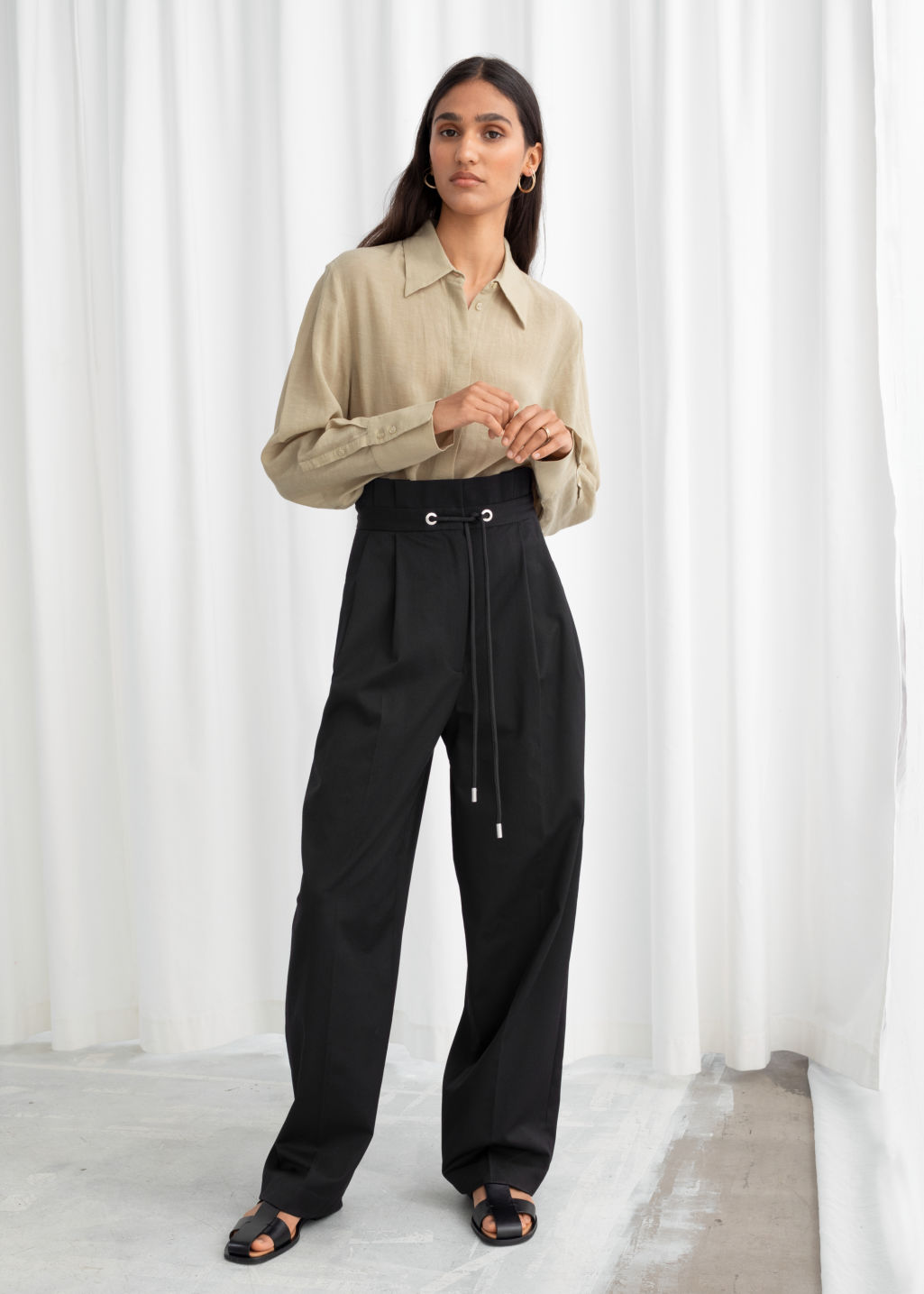 Model front image of Stories straight paperbag waist trousers in black