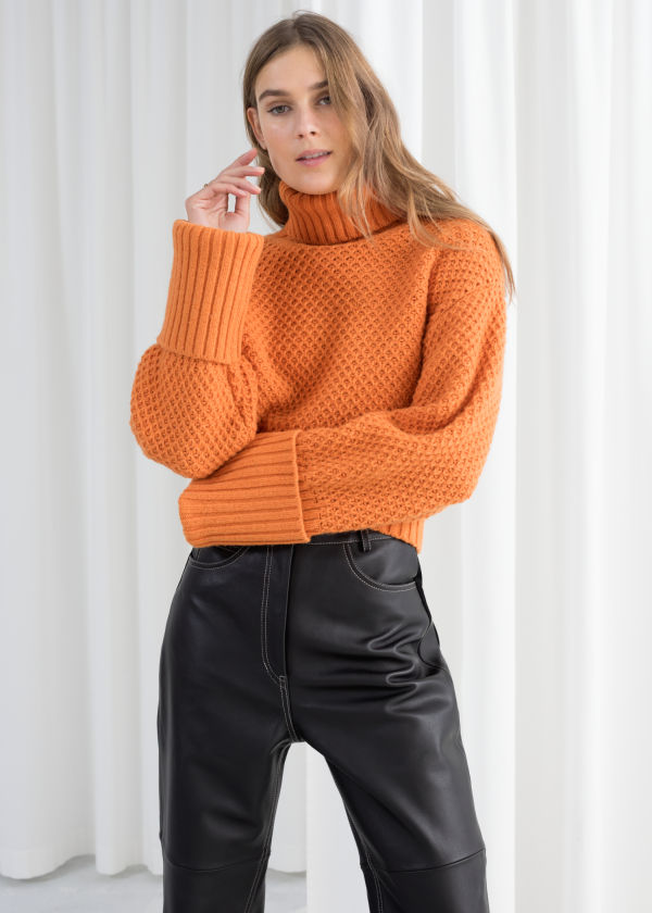 Cropped Wool Blend Turtleneck
