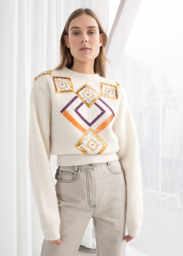 Embellished Cropped Sweater