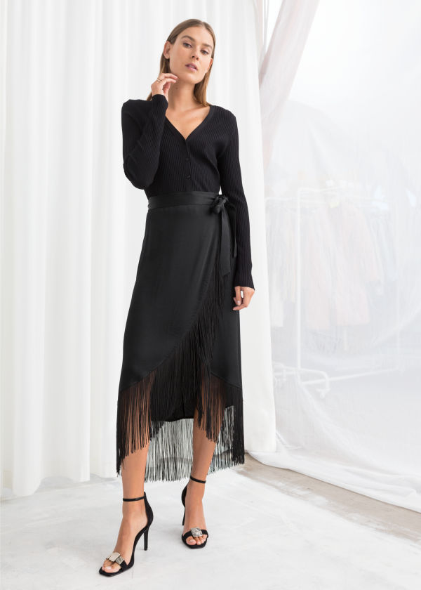 Satin Fringe Wrap Skirt