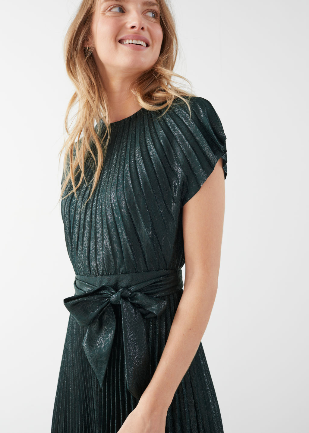 Model front image of Stories metallic pleated maxi dress in green