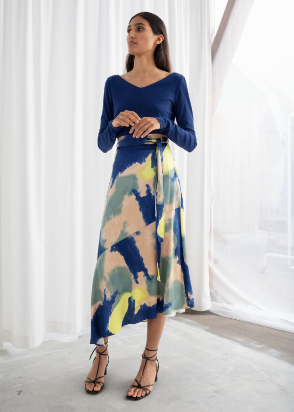 Watercolour Asymmetric Satin Midi Skirt