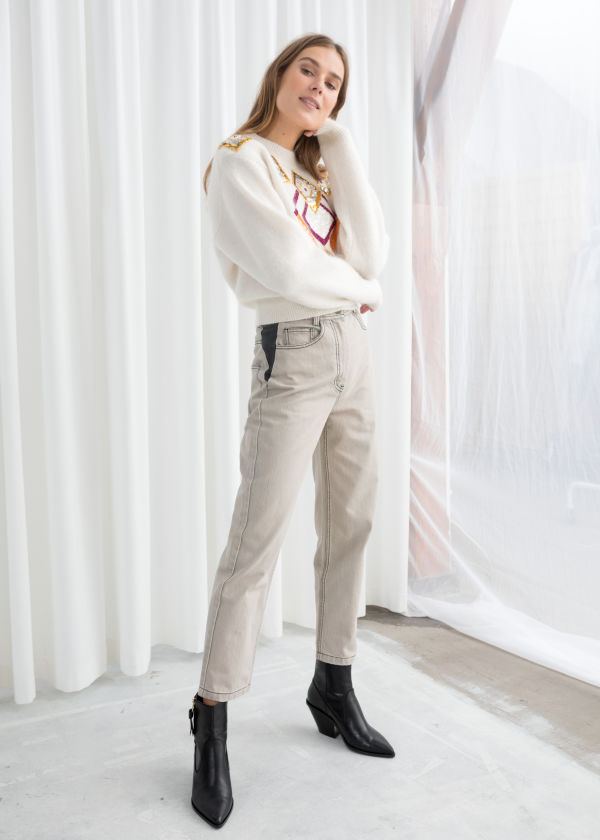 High Waisted Cotton Twill Trousers