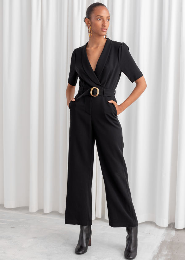 Belted Plunging Jumpsuit