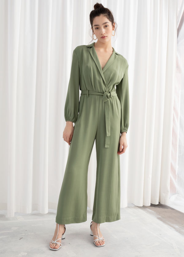 Belted Long Sleeve Jumpsuit