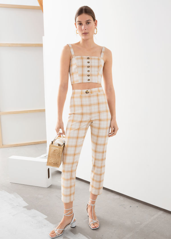 Cropped Cotton Blend Plaid Trousers