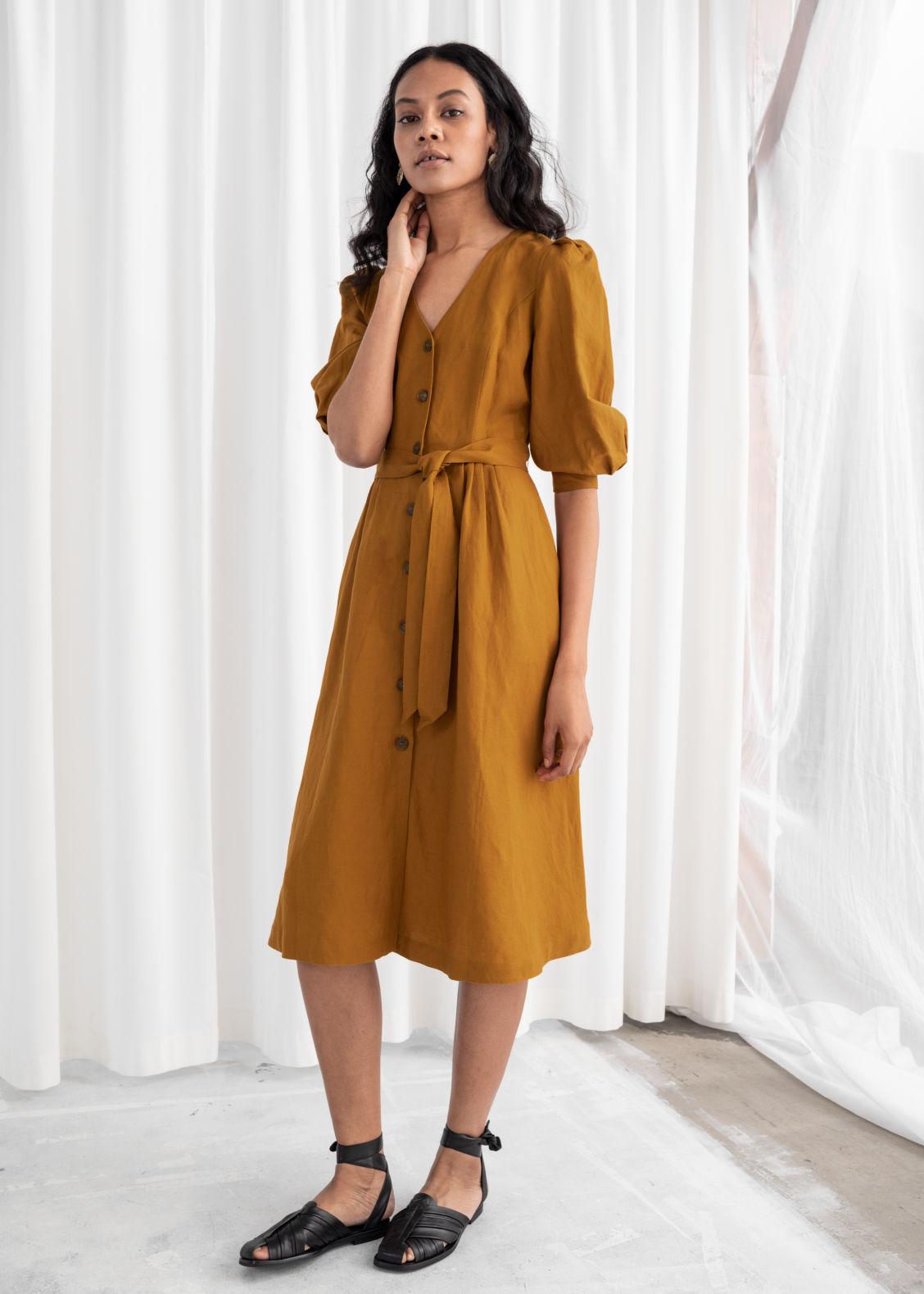 Belted Linen Blend Midi Dress - Mustard - Midi dresses -   Other Stories c4aa5d0ad