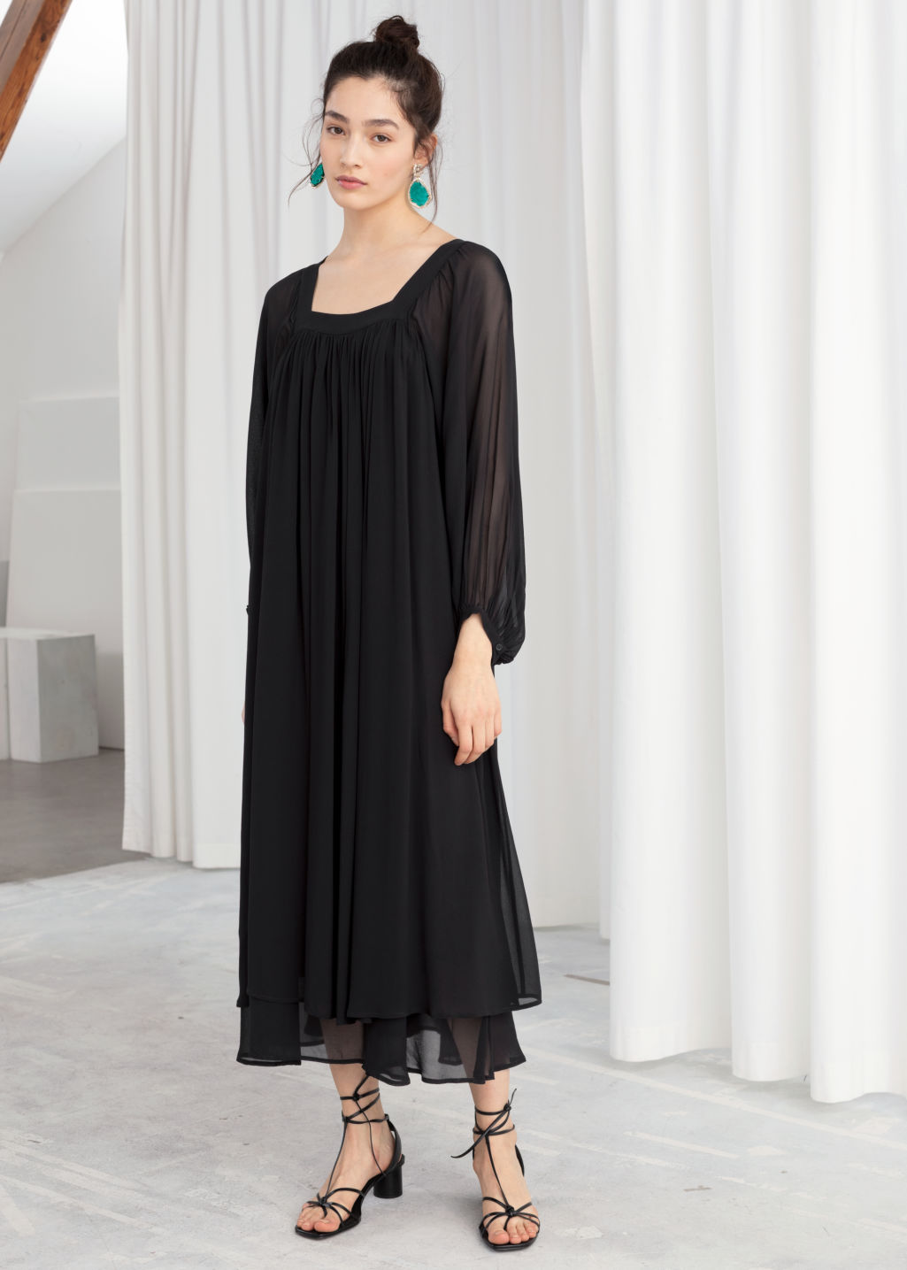 Model front image of Stories square neck kaftan maxi dress in black