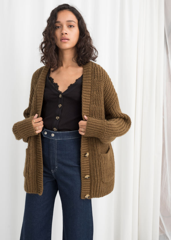 Overzied Rib Knit Cardigan