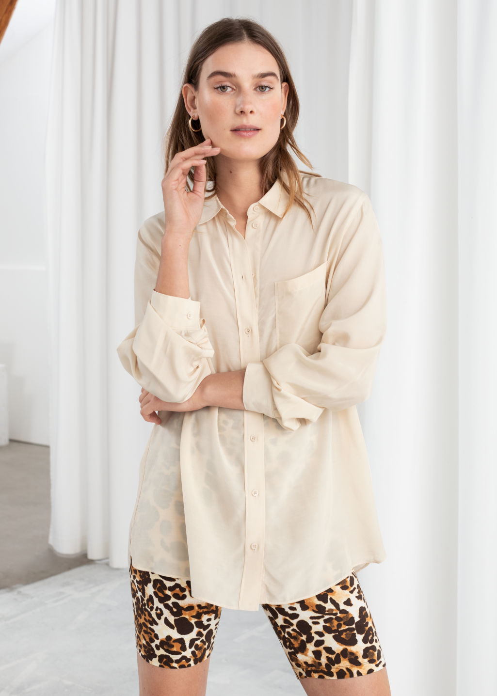 Model front image of Stories modal blend button up shirt in beige