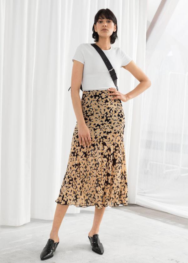 35e159e674 Floral Print Midi Skirt ...