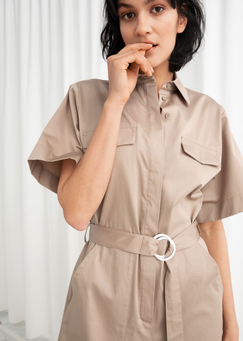2ec44178af4 Belted Cotton Workwear Boilersuit - Beige - Jumpsuits   Playsuits ...