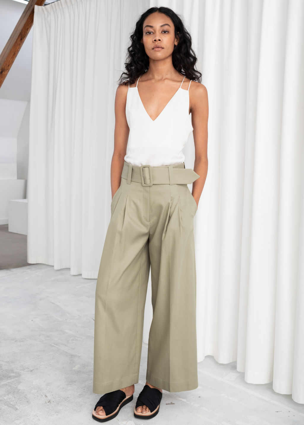 good looking how to orders purchase authentic High Waisted Belted Flare Trousers - Beige - Trousers - & Other Stories
