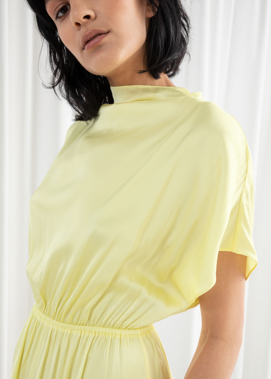 Model back image of Stories asymmetric satin midi dress in yellow