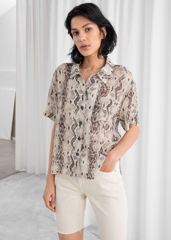 7036809a93735 Sheer Snake Print Button Up Shirt ...