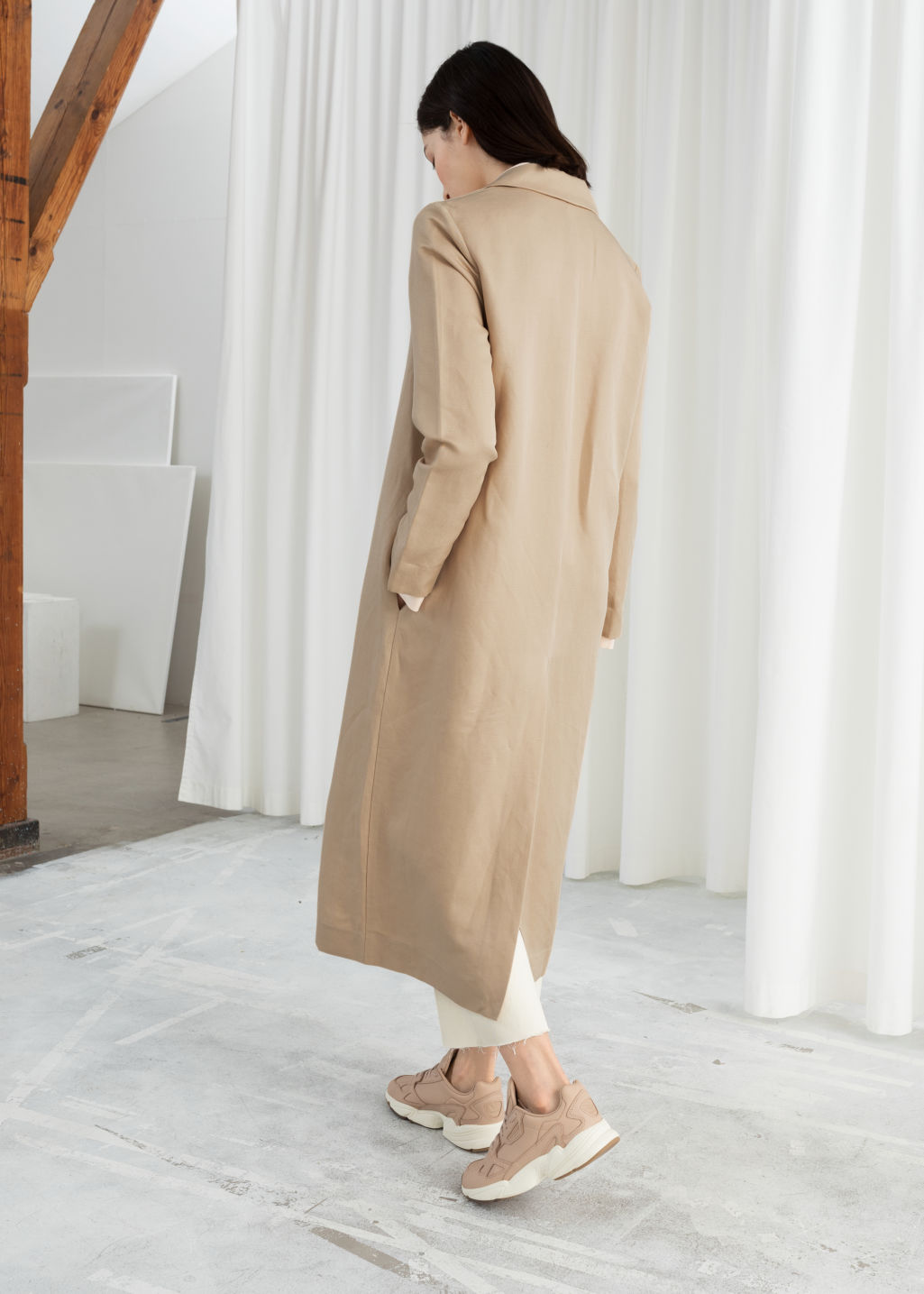 Model back image of Stories linen blend duster coat in beige