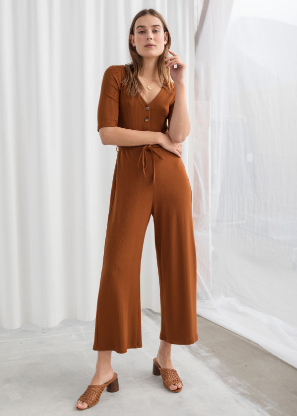 Stretch Rib Knit Jumpsuit