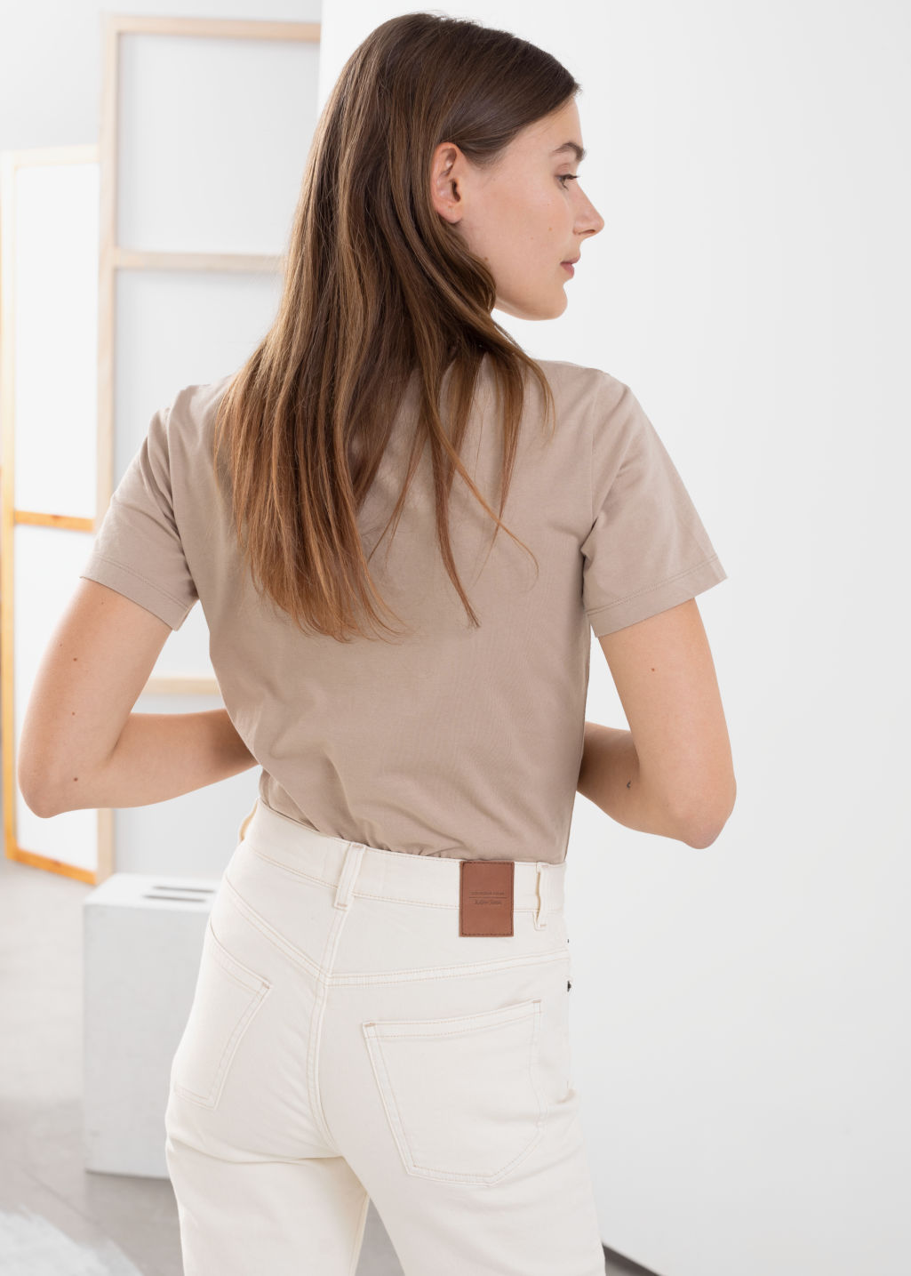 Model back image of Stories sunset graphic tee in beige